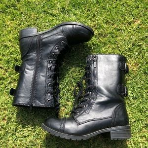 Black Vegan Leather Combat Boots